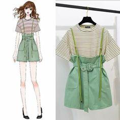Cute Fashion, Asian Fashion, Fashion Art, Girl Fashion, Fashion Dresses, Korean Outfits, Trendy Outfits, Cool Outfits, Fashion Design Drawings