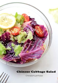 Chinese cabbage Salad-with white cabbage, purple cabbage, cherry tomato, lemon, peppers