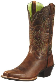 """Ariat Legend - Town or country, this """"good ole cowgirl's boot"""" works hard but knows how to have a good time. Sporty square-toe and tons of colors, punchy or traditional; there's a Legend with your name on it for out on the town. ATS™ technology keeps feet happy, the Duratread™ rubber outsole absorbs shock and resists wear."""
