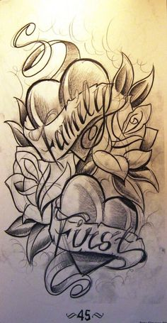 family first tattoo idea Design Tattoo, Tattoo Design Drawings, Heart Tattoo Designs, Tattoo Sleeve Designs, Tattoo Sketches, Sleeve Tattoos, Half Sleeve Tattoo Stencils, Family Tattoo Designs, Family First Tattoo