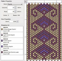 Please note : The beads in these patterns (obviously) do not look the same as the actual beads (some of those are opaque, transparent, silve. Peyote Stitch Patterns, Beading Patterns Free, Bead Loom Patterns, Jewelry Patterns, Brick Stitch, Bead Crochet, Loom Beading, Bead Weaving, Bead Crafts