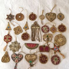 AMAZING Antique Lot of Christmas Ornament 26 Beaded Handmade Embroidered Vintage