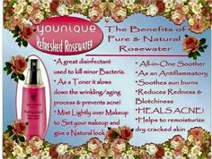 Our Rosewater is a MUST HAVE this summer!  Not only does it smells like rose petals, it cools sunburn and makes your face feel oh so fabulous!  It also helps with acne and reduces redness!  You can also mix it with our eye pigments for a creamy look.  Shopping link... https://www.youniqueproducts.com/NicoleChiappetta/party/2043389/view