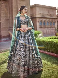 Looking for Dark green Anita dongre lehenga? Browse of latest bridal photos, lehenga & jewelry designs, decor ideas, etc. on WedMeGood Gallery. Indian Bridal Outfits, Indian Bridal Lehenga, Indian Designer Outfits, Indian Dresses, Bridal Dresses, Indian Attire, Indian Ethnic Wear, Indian Style, Anita Dongre