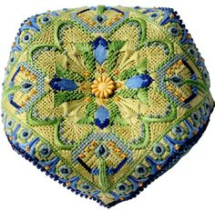 A fun little project with lots of great stitches and threads. Finish as a biscornu to adorn a table or shelf. Beautifully painted and complete with stitchguide fabric backing and center bead/button 5″ x 5″ on 18ct.