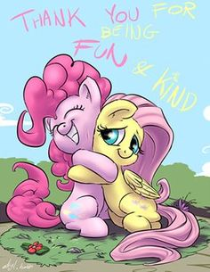 Pinkie Pie and Fluttershy! They're so cute!!!