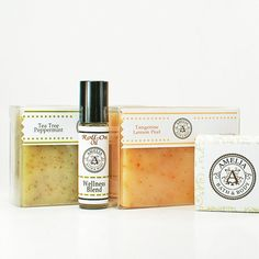 Natural Gift Set - Three Natural Soaps Tea Tree Peppermint Tangerine Unscented and Wellness Oil Blend - All Natural Bath and Body Products on Etsy, $29.00