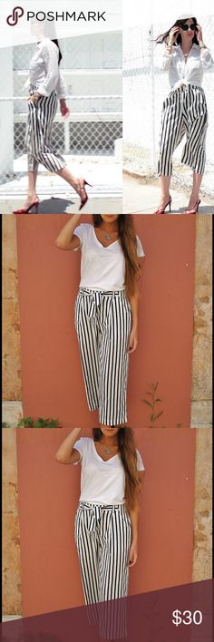 Zara - Black and White Culottes Black and white striped culottes. Very classy and versatile. Only worn 1x Zara Pants