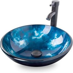Tempered Glass Vessel Bathroom Vanity Sink, Round Artistic Washing Basin Bowl, Oil Rubbed Bronze Faucet Pop-up Drain Set