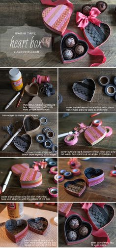 Washi Tape Heart Box From | #DIY Valentines Day Ideas
