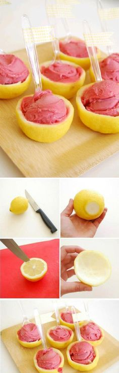 Lemon sorbet! So refreshing and perfect for summer - Flavorful Food Ideas, Summer Food, Summer Recipes, Snack Recipes, Dessert Recipes, Dinner Recipes, Lunch Recipes, 4th of July, 4th of July Weekend
