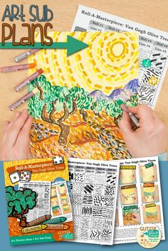 """Teach your students about line variety while studying Vincent Van Gogh and his famous """"Olive Trees"""" painting. This art lesson is great for kids in 4th grade and up and takes two, 40 minutes periods to complete. The best part? It's created with a roll of the dice. Come see for yourself!   Glitter Meets Glue Designs"""