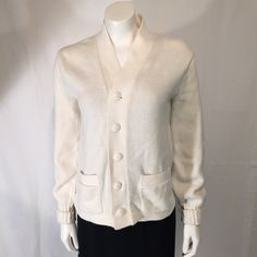 Miami Knitting Mills Cardigan Sweater Long Sleeve LS Cuffed Cream Ivory Size Extra Small XS by CarolinaThriftChick on Etsy $12.99