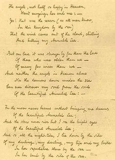 Annabel Lee manuscript, Edgar Allan Poe, part 2.