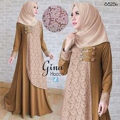 gina mocca maxi tgn pjg, variasi kancing depan, spandex korea kombi brukat, ld 100 smp 110 pjg 141 lb no pashmina, berat FB fanpage: Toko Alyla line WA: Abaya Fashion, Fashion Dresses, Moslem Fashion, Dress Brokat, Modele Hijab, Indian Gowns Dresses, Abaya Designs, Hijab Style, Frock Design