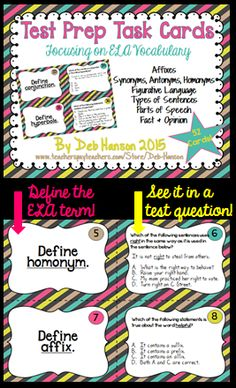 Test Prep Task Cards for Upper Elementary- 52 cards focusing on the vocabulary of affixes, figurative language, parts of speech, types of sentences, synonyms, antonyms, and more! $