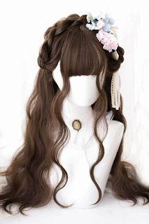 New Cute Lolita Wigs for You! Anime Wigs, Anime Hair, Cosplay Hair, Cosplay Wigs, Kawaii Hairstyles, Cute Hairstyles, Kawaii Wigs, Korean Hair Color, Lolita Hair