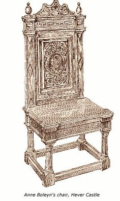 Drawing of an old carved chair purported to have belonged to Anne Boleyn, and  purchased for Hever Castle in Victorian times. The chair is thought to be of  Italian origin. Chairs such as this were rare and very high status in Tudor  times.