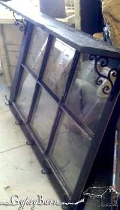 Old window frame with L brackets added, a stained barn board and some small coat hooks. Wooden Windows, Vintage Windows, Antique Windows, Wooden Doors, Old Window Projects, Home Projects, Barn Board Projects, Do It Yourself Furniture, Diy Furniture
