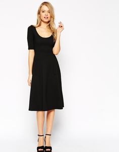 $24, Black Skater Dress: Asos Collection Midi Texture Skater Dress With Half Sleeve. Sold by Asos. Click for more info: https://lookastic.com/women/shop_items/275518/redirect