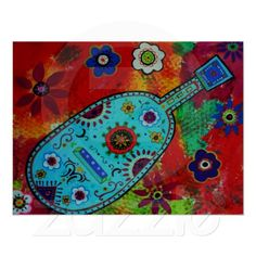 Folk+Art+Mexican+Guitar+Painting+Poster