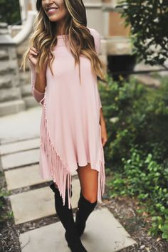 Blush Fringe Dress - Dottie Couture Boutique with black boots Classy Outfits, Casual Outfits, Cute Outfits, Spring Fashion, Autumn Fashion, Dottie Couture Boutique, Fashion Beauty, Women's Fashion, Mommy Style