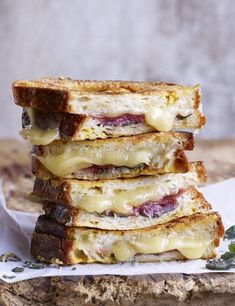 Savoury French Toast Recipe With Fontina, Prosciutto and Sage  The ultimate eggy bread. A delicious toasted cheese sandwich. French toast filled with fontina, sage and prosciutto. Whatever you call it, this is a special comfort food recipe for four.