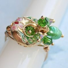 FW Emerald Pearl and Crystal Cloisonne Ring in 14ktgf Gold Sz 5 - 9.5 by Maru Jewelry Designs | whosmaru - Jewelry on ArtFire