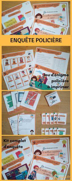 Énigme policière enfant à imprimer pour goûter, anniversaire et activité ludique en famille