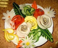 The W's: Food decoration art, Part 1 [not a recipe or tutorial] floral relish plate... i see pickles, tomato, lemon, carrot, ribbons of cucumber? ...