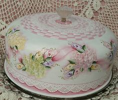 Hand Painted Vintage Cake SaverCottage Chic Roses Hydrangeas Shabby Lace HP | Collectibles, Kitchen & Home, Kitchenware | eBay!