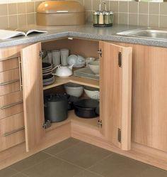 35+ Luxury Kitchen Cabinet Decor Ideas #kitchendesign #kitchendecor Minimalist Kitchen Cabinets, Kitchen Cabinet Design, Kitchen Storage, Corner Storage, Kitchen Shelves, Storage Cabinets, Design Your Home, Kitchen Corner, Corner Cabinet Solutions