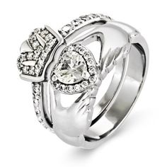 Claddagh engagement ring Put a cushion cut diamond on top I