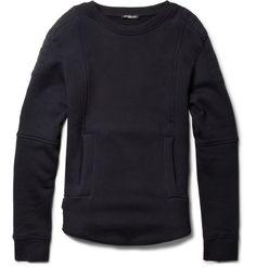 navy cotton-jersey biker sweatshirt by balmain