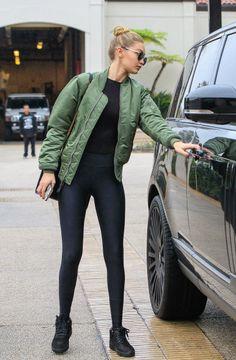 """lookforless: """" Green Bomber Jacket + Black Tights """""""