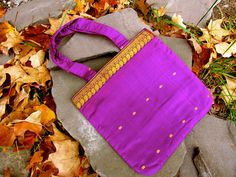 Better than your average big bag - Ruby Sari Hand Bag with Gold Embroidery (Sushmita). $40.00, via Etsy.