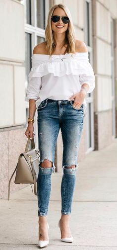 off shoulder tp + rips + bag + heels