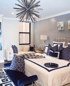 New Bedroom Inspirations Romantic Blue Classy bedroom decor Bedroom inspiration Royal blue Romantic Master Bedroom, Master Bedroom Interior, Home Decor Bedroom, Bedroom Black, Bedroom Furniture, Furniture Dolly, Bedroom Ideas Master For Couples, Classy Bedroom Ideas, Master Suite