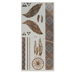 Etiqueta engomada del arte del cuerpo tatuajes temporales metálico campana de viento cadena