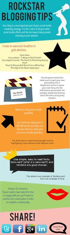 Rockstar Blogging Tips (infographic) Marketing Software, Content Marketing, Internet Marketing, Social Media Marketing, Marketing Ideas, News Blog, Blog Tips, Apps, Social Media Tips