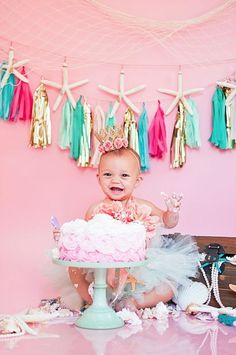 Mermaid princess cake smash photo shoot from a Littlest Mermaid 1st Birthday Party via Kara's Party Ideas | KarasPartyIdeas.com - The Place for All Things Party! (15)