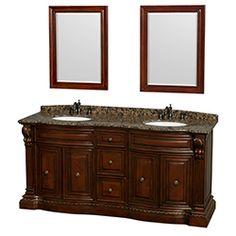 "72"" Roxbury Traditional Double Bathroom Vanity Undermount by Wyndham Collection - Cherry #BathroomRemodel #BlondyBathHome #BathroomVanity  #TraditionalVanity"