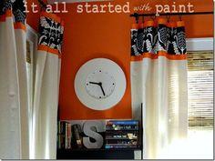 Teen Room Orange gray black drop cloth drapes