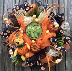 Hey, I found this really awesome Etsy listing at https://www.etsy.com/listing/200905386/halloween-wreath-pooh-halloween-wreath