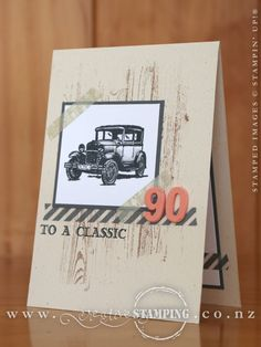 The Guy Greetings stamp set and Hardwood background stamp make a great combination for creating a 90th masculine birthday card.  www.creativestamping.co.nz   Stampin' Up!   2014-15 Annual Catalogue   2015 Occasions Catalogue