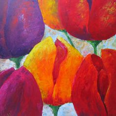 6 gekleurde tulpen met palet