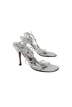 Stuart Weitzman- Silver Leather Rhinestone Strappy Sandal Sz 6 | Current Boutique