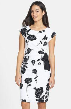 Taylor Dresses Bow Detail Floral Print Stretch Sheath Dress   Nordstrom