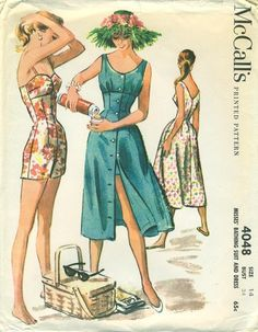 Guide to collecting vintage sewing patterns. This reminded me of a few old sewing patterns we had when I was growing up. When I created an apron I looked at so many patterns, gleaning ideas. Robes Vintage, Vintage Dresses, Vintage Outfits, 1950s Dresses, Vintage Clothing, Vintage Dress Patterns, Clothing Patterns, 1950s Fashion, Vintage Fashion