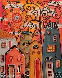 Una tarde original pintura de lona 16x20 pulgadas casas de arte popular gatos Karla G | Arte, Directo del artista, Pinturas | eBay!